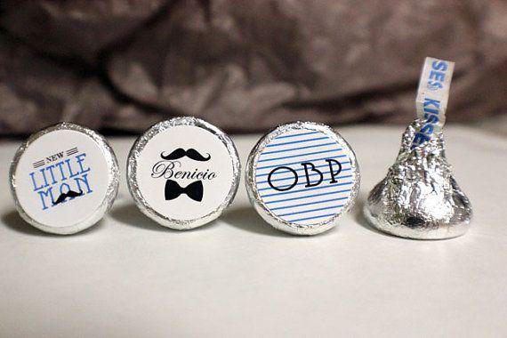 108 Little Man Baby Shower Kisses Stickers  by PinkTexasPrint, $8.00