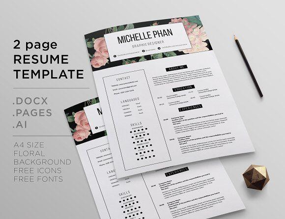 26 best floral cv resume templates images on pinterest cover