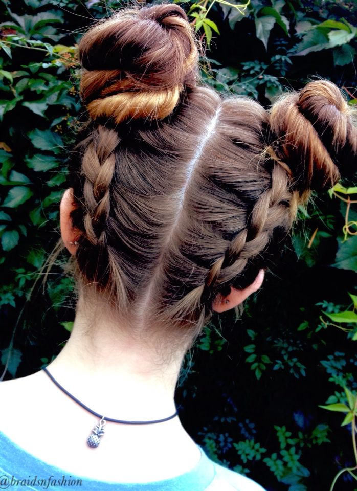 Double dutch braids into space buns ~ #hair #braids #spacebuns