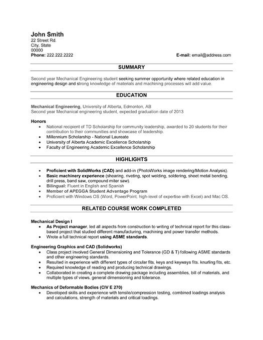 42 best Best Engineering Resume Templates \ Samples images on - resume for a student