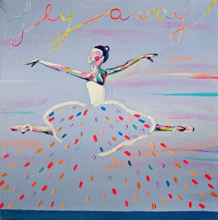 fly away / 40 cm x 40 cm / acrylic on canvas #happy #love #fly