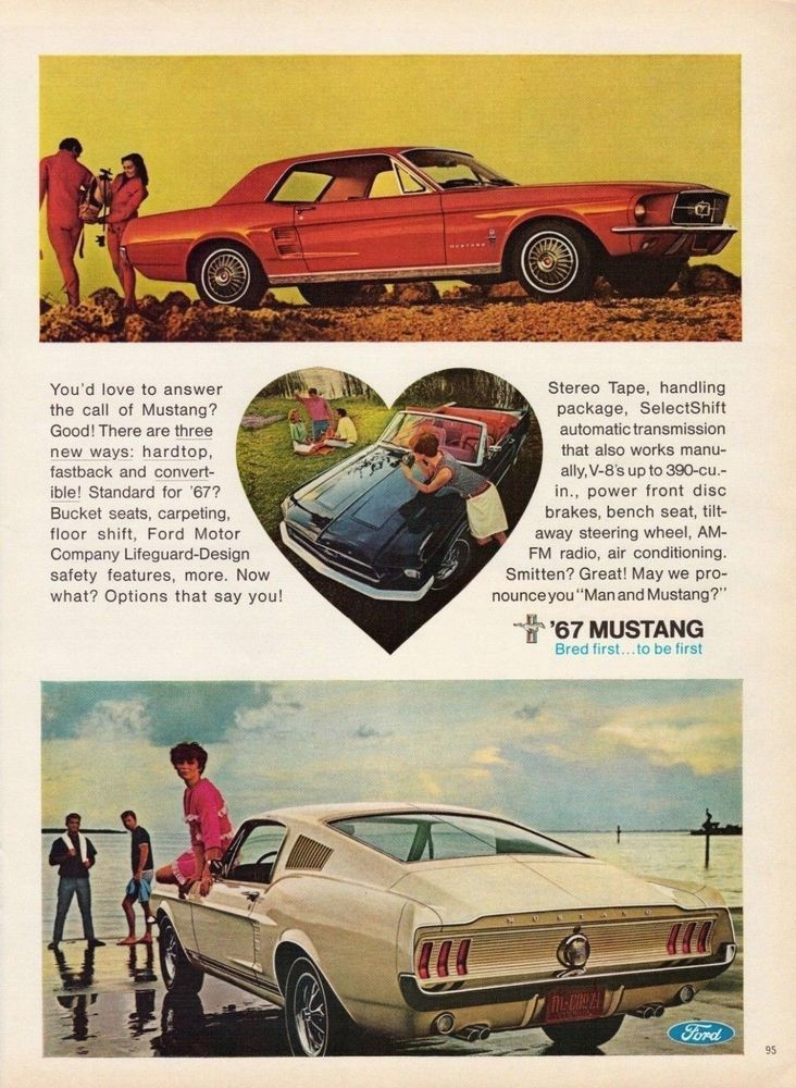 1967 Ford Mustang Convertible Hardtop Fastback Vintage Color 3 Photo Print Ad Retro Retro Reclame