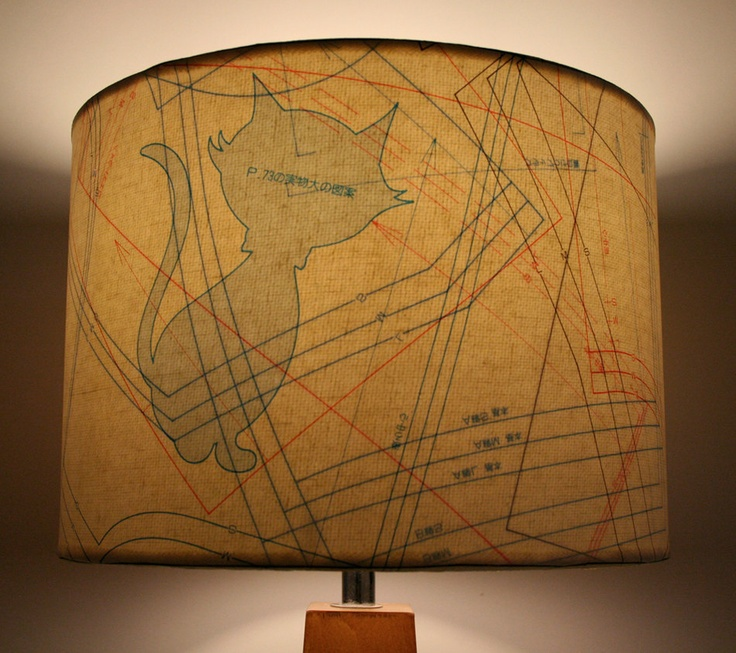 ne ko sewing pattern lamp shade japanese cat upcycled