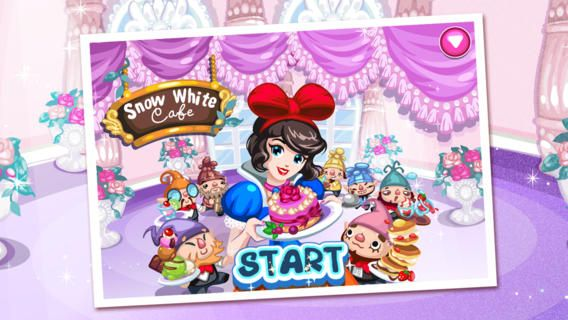 Snow White cafe app. More sparkles and 3D type.