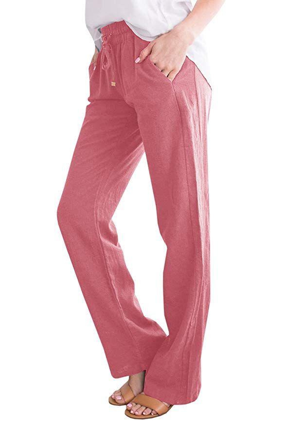 9e1ebc7bd8ef Geckatte Womens Casual Linen Pants Comfy Elastic Waist Drawstring Loose  Long Pants with Pockets