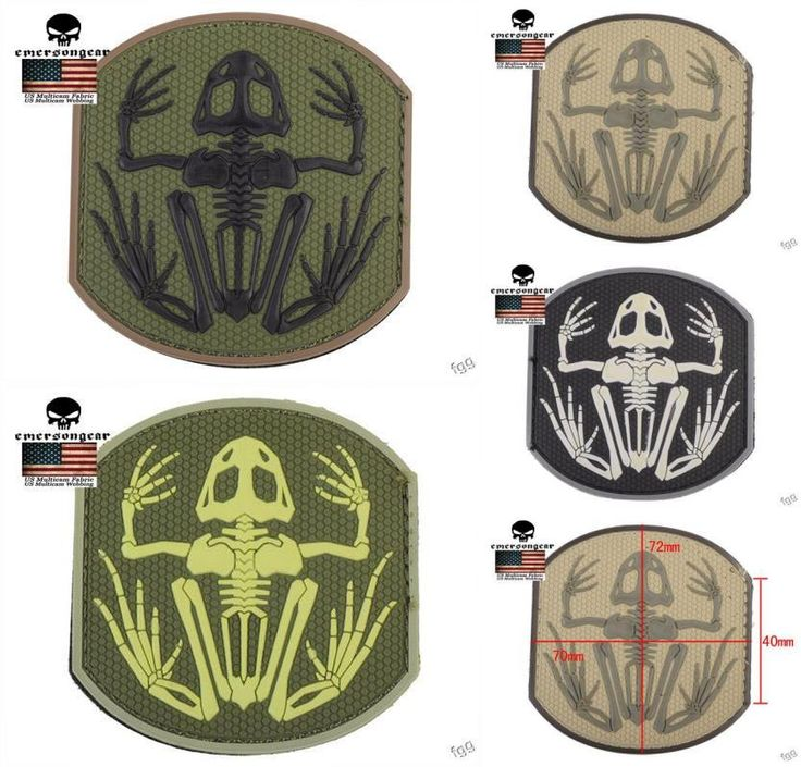 [Visit to Buy] Emerson Tactical Military Badge Frog Skeleton PVC Patch Black Airsoft Hunting Patch Rubber Morale Gear Armband Patches #Advertisement