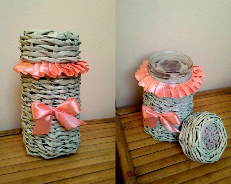 Pojemniczek na herbatę z wikliny papierowej  #handmade #wiklina #papierowa