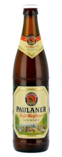 Cerveja Paulaner Hefe-Weissbier Naturtrüb, estilo German Weizen, produzida por Paulaner Brauerei München, Alemanha. 5.5% ABV de álcool.