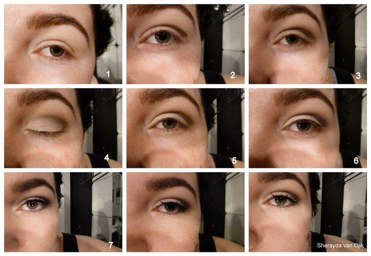 Make-up tip van Sherayda van Ojik: 1e: Oog primer 2e: oogschaduw in een lijn aanbrengen in de arcadeboog 3e: De lijn vervagen en opbouwen tot de gewenste kleur. 4e: Oogschaduw aanbrengen op het bewegend ooglid (kleur die je wil) 5e: Weer opbouwen tot je het genoeg vind. 6e: eyeliner. 7e: Mascaraaa! 2 afbeeldingen erna is het eindresultaat! :)