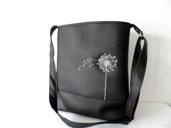 Faux leather tote cross body bag with by MelindasSewingCorner