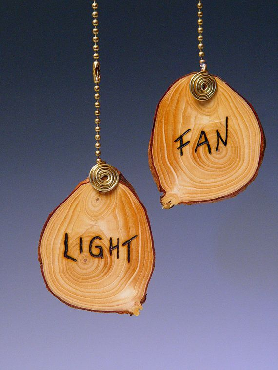 Add some character to your fans and lights with these handmade, fan/light pulls made from book-matched slices of an Arizona tree branch. Do you ever