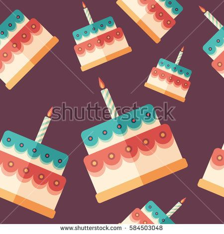 Birthday cake flat icon seamless pattern. #foodpatterns #vectorpattern #patterndesign #seamlesspattern