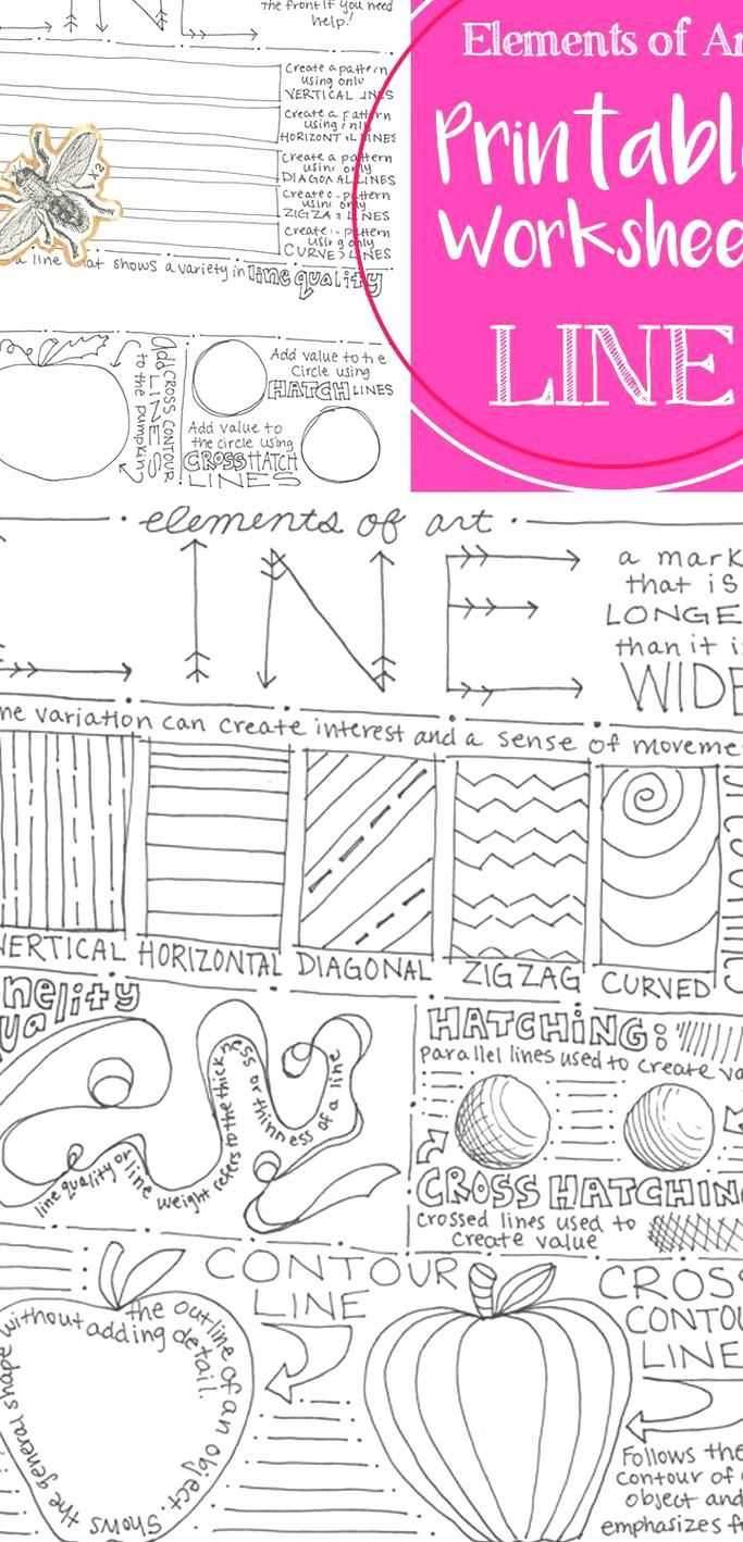 This Printable Worksheet Covers The Element Of Art Line Examples And Information Are Included On The Front Wi In 2020 Elements Of Art Line Line Art Lesson Art Handouts