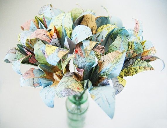 recycled atlas paper flower bouquet