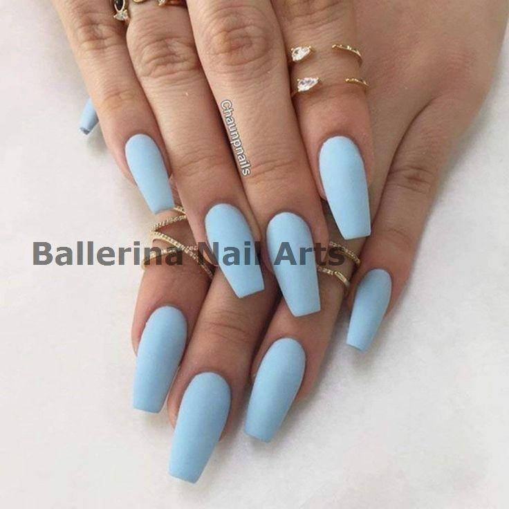 30 Ballerina Nail Shape Ideas Acrylic Nails Light Blue Coffin Shape Nails Blue Coffin Nails