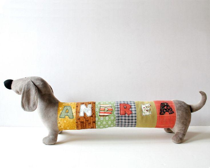 Personalized Dachshund Puppy, Long Plush Dog stuffed animal, plush toy, personalized stuffed animal by andreavida on Etsy https://www.etsy.com/listing/204914570/personalized-dachshund-puppy-long-plush