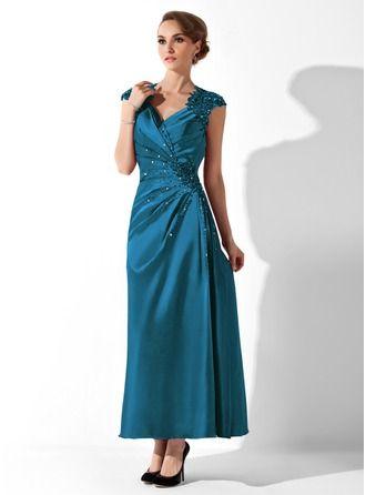 A-Linie/Princess-Linie V-Ausschnitt Knöchellang Charmeuse Kleid für die Brautmutter mit Rüschen Spitze Perlen verziert