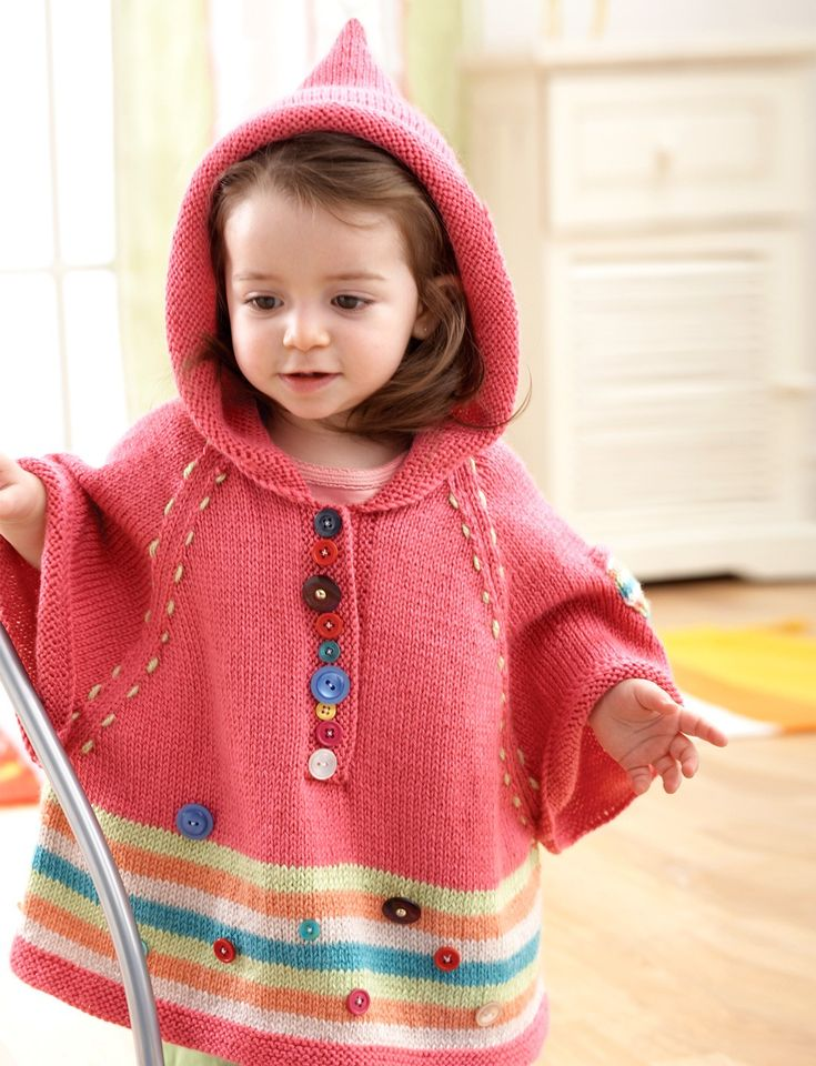 Bernat Hooded Poncho - Patterns  | 6 mos. to 2 yrs. / easy / found in digital book / KNITTED pattern