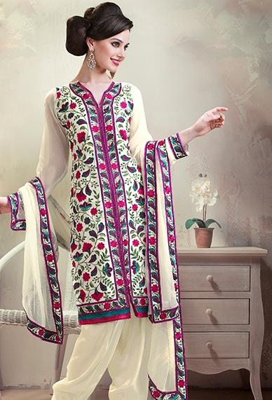 White Georgette Designer Pakistani Salwar Kameez Buy Now Get Free Shipping! On All #Pakistani #Shalwar #Kameez