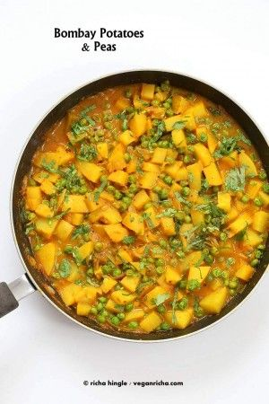 Vegan Bombay potatoes and Peas Recipe. Ready in 30 minutes. Aloo Matar. Add greens, use sweet potato for variation. Vegan Glutenfree Indian Recipe. Easy Potato Pea Curry.