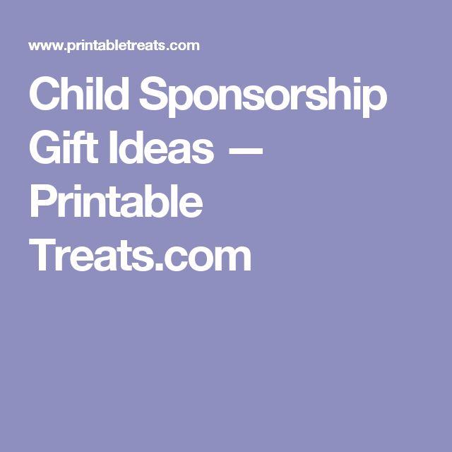 Child Sponsorship Gift Ideas — Printable Treats.com