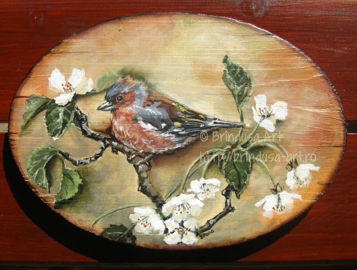 Brîndușa Art Painted wall plaque: a male chaffinch on a tree branch, to cheerfully greet spring… Acrylics on wood.  Placă de lemn pictată: un cintezoi, pe o ramură de copac, salutând vesel primăvara…Culori acrilice pe lemn. #spring #primavara #birds #blooms #blossoms #woodpainting #picturapelemn