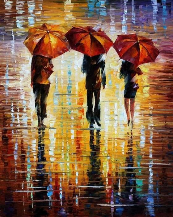 LEONID AFREMOV Three Red Umbrellas -
