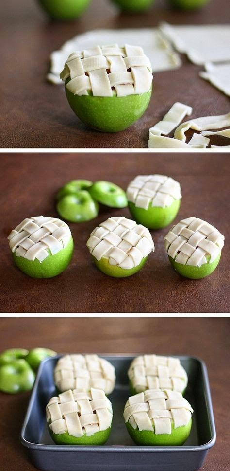 AKCollection: Apple pie baked in an apple! Mini apple pies!