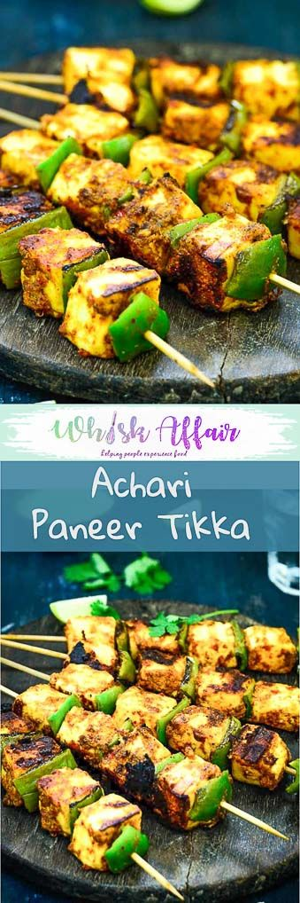Achari Paneer tikka is a delicious starter made with paneer (Indian Cottage Cheese) marinated in an achari (Pickle spices) marinade. The soft and juicy morsels of paneer coated with spicy and tangy masala is a delight to eat. #Paneer #Recipes #Appetizer via @WhiskAffair