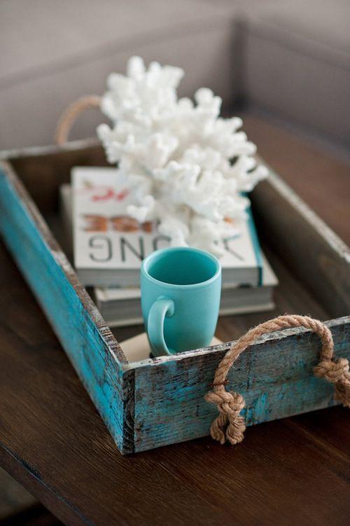 Cute beach nautical vignette on a tray.