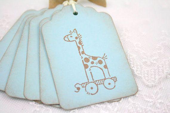 Baby Boy Shower Ideas Giraffe Boy Tags Christening Favor Gift Tags Set of 10