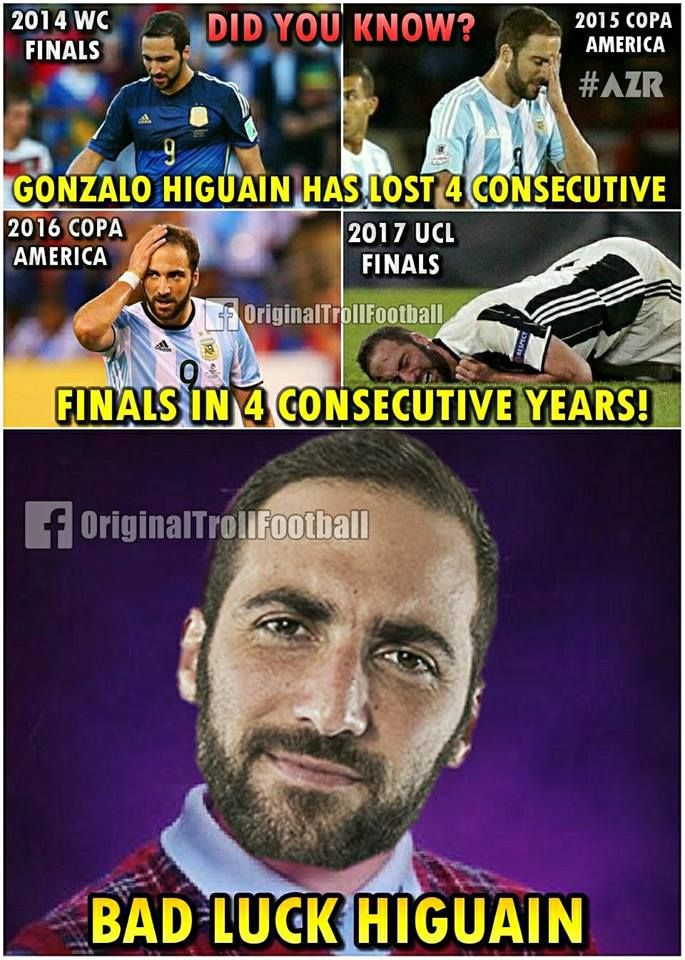 """2014 World Cup Final -  2015 Copa America Final -  2016 Copa America Final -  2017 UCL Final -  The curse of Higuaín continues.  """
