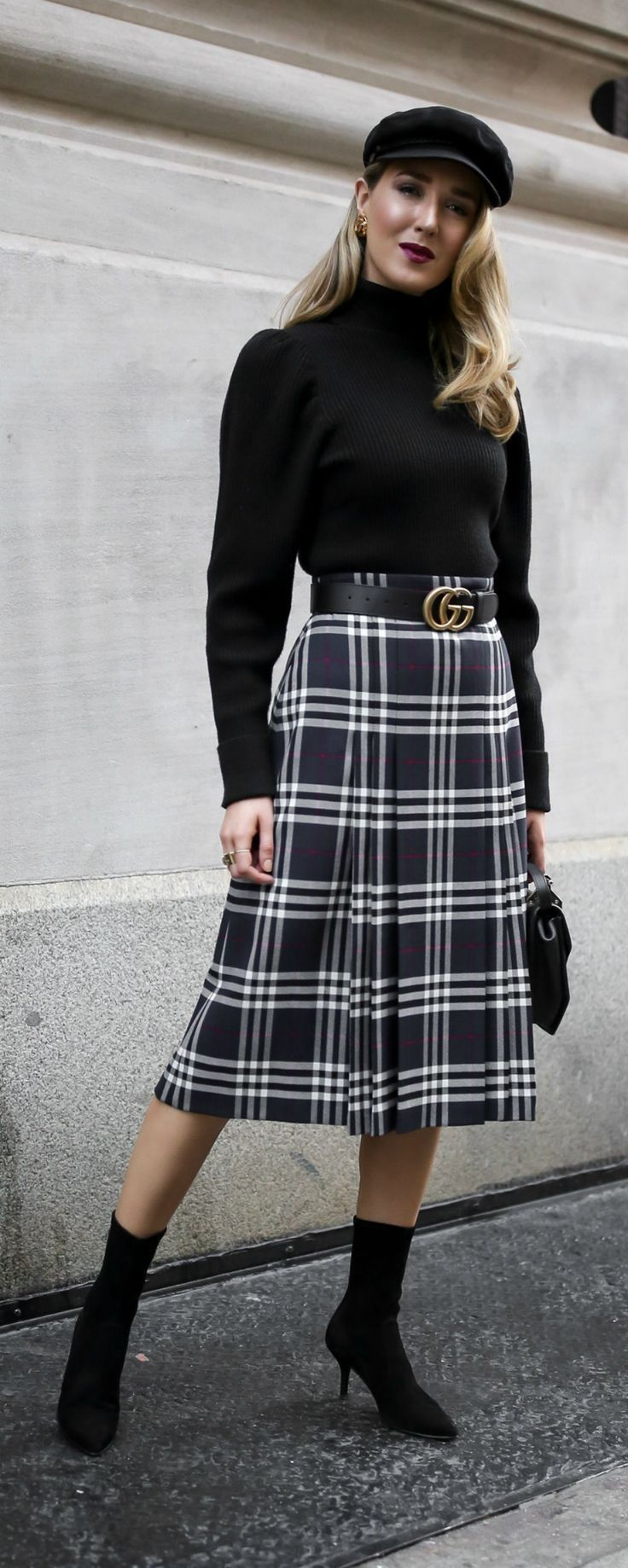 Classic Fall Style //  Pleated plaid midi skirt, black puffed-shoulder turtleneck, black sock boots, baker boy cap and black leather waist belt {Burberry, Anthropologie, Stuart Weitzman, Gucci, M2Malletier, Brixton, classic style, fall style, classy dressing, wear to work, casual office, casual Friday, fashion blogger, street style}