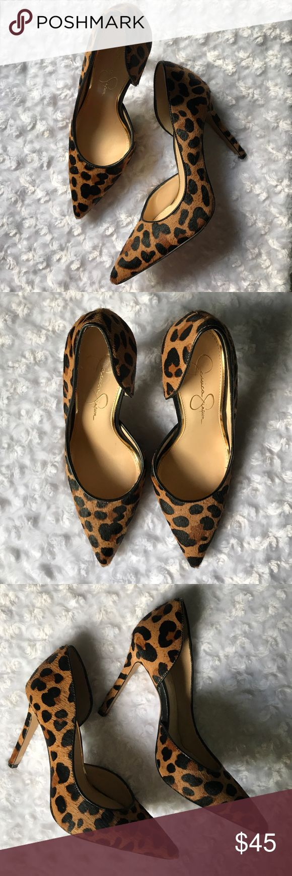 "JESSICA SIMPSON LEOPARD HEELS PUMPS STILETTOS Real cow hair fur. True to size fit. A Fantastic Staple shoe color. Sophisticated and sexy. 4"" heel. Faux leather trim around inner edges. This won't disappoint! Jessica Simpson Shoes"