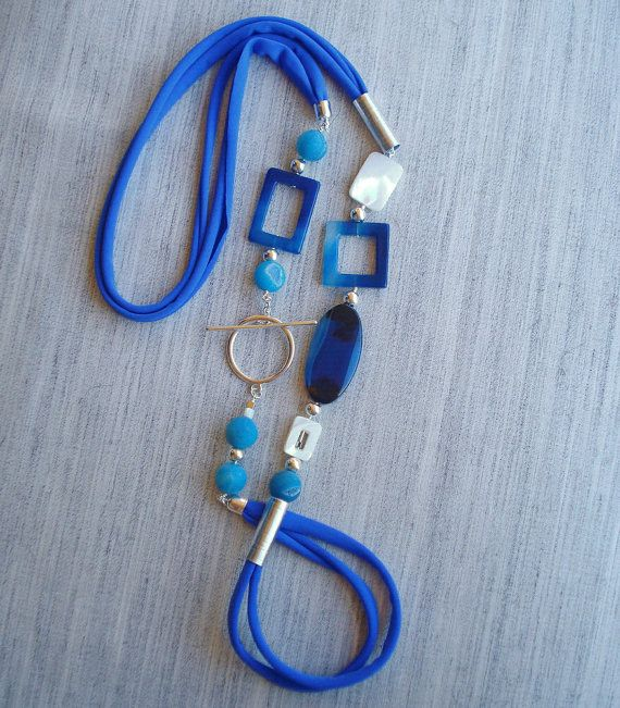 Electric blue necklace cobalt agate necklace by DenDesignjewels ($ 79)