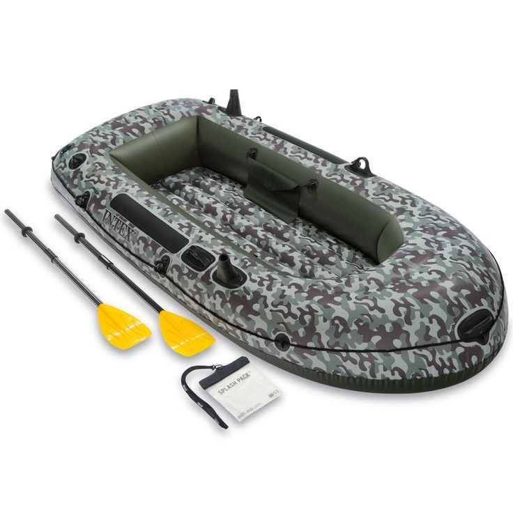 Inflatable Boat Camo Set Sea Lake Two-Person with Oars and Pump Heavy Duty Green #InflatableBoatCamoSet