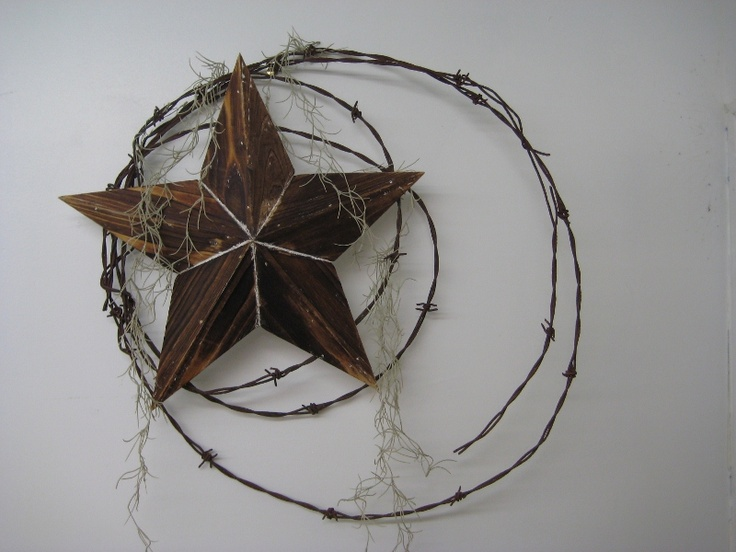 Barbed Wire Wreath with Wooden Star and Spanish Moss