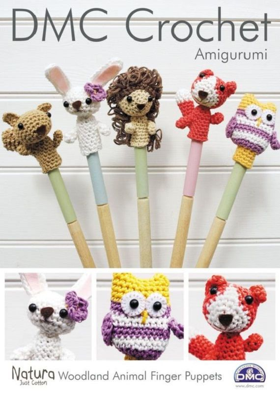DMC Crochet Pattern Woodland Animals Finger Puppets. Crochet pattern from DMC for Amigurumi Woodland Animal Finger Puppets, made with DMC Natura, requires one ball of each of the following shades: N01 Ibiza, N16 Tournesol, N18 Coral, N41 Siena, N31 Malva, N36 Gardenia and N37 Canelle. Small amount of oddment of brown, black and yellow for features. Pink, White and Brown Felt, Wool Needle, Fabric Glue, 6mm Black Toy Eyes, Stitch Marker and Toy Filling. Owl, Fox, afflink