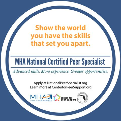 Step up and show the world your advanced skills in peer support. Become a Mental Health America National Certified Peer Specialist, learn more!