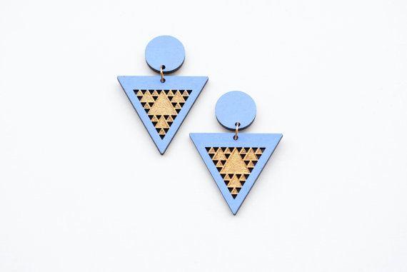 Geometric earrings triangle earrings fractal by elfinadesign