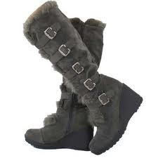 Grey fuzzy boots- maybe with less heel though...