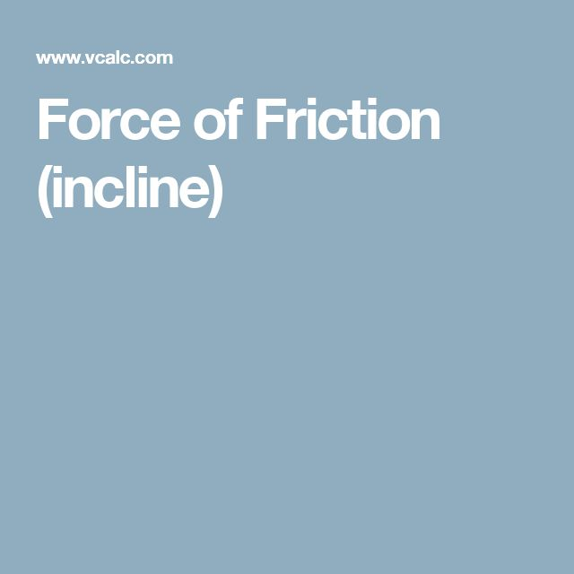 Force of Friction (incline)