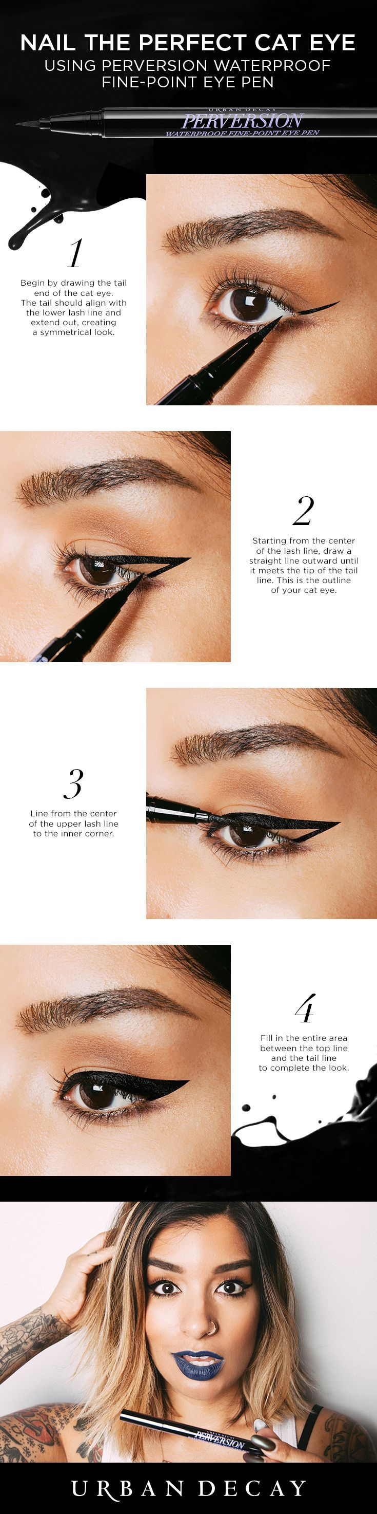 Nail the perfect cat eye every time with the Perversion Waterproof Fine-Point Eye Pen! It's super-smooth, free-flowing and lays down intense black lines with absolute precision. Follow these 4 simple steps to get the look! #beautydiybody