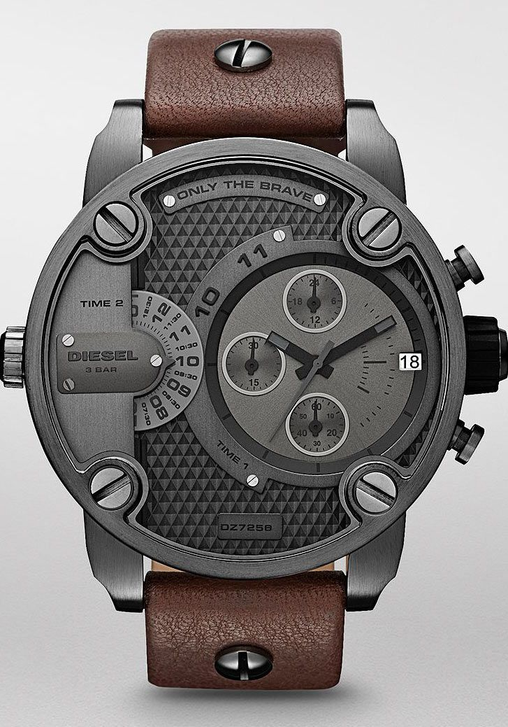 I like the leather strap.  This watch is really big.  I have the brushed metal with metal wrist band.  Love the watch.