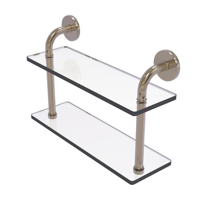 Allied Brass Remi Collection 16 in. 2-Tiered Glass Shelf in Antique Pewter