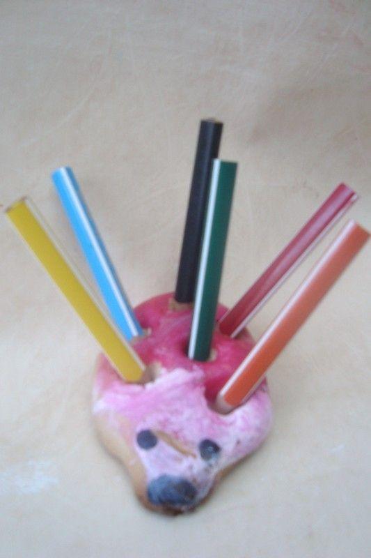 hérisson porte crayon (pâte à sel)
