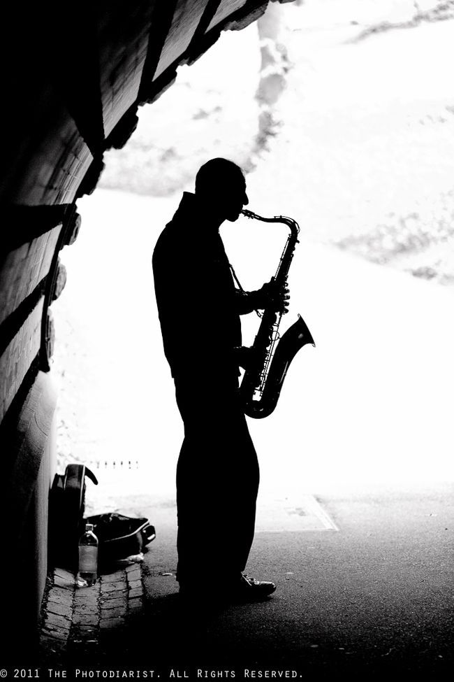 Sax man in the tunnel