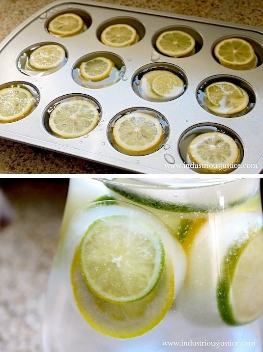 This is a fabulous idea for a water or sangria pitcher! A muffin pan gives you much larger cubes, making the ice last much longer. This also looks beautiful with the whole lemon slices in there. You could also do this with oranges; maybe even throw in some mint or sliced strawberries!