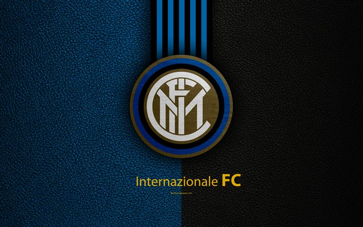 Download wallpapers Internazionale FC, 4k, Italian football club, Serie A, emblem, logo, leather texture, Milan, Italy, Italian Football Championships, Inter Milan