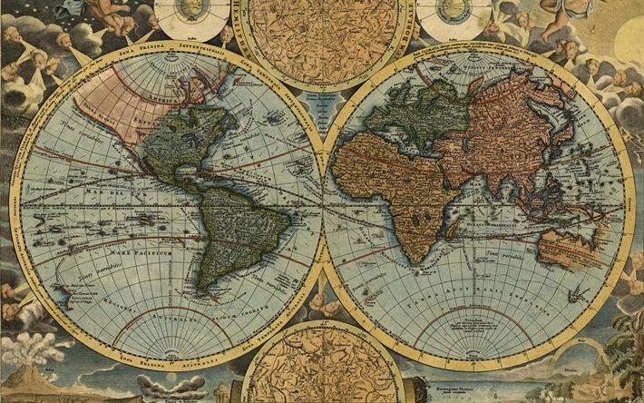 Download imagens mapa antigo do mundo, cartografia, geografia, Johann Baptist Homann, 1716, retro mapa, conceitos de viagens, planeta Terra mapa